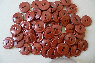 20 Earthy Red Buttons Vintage. 2 sided. 18mm. diam.
