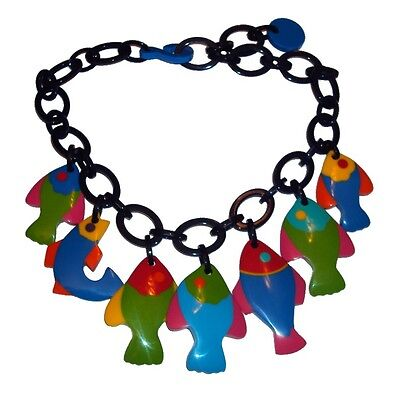 French Designer Fab Multi Color Resin Bib Charm Necklace With Fishes
