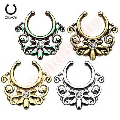 Gem Swirl Non Piercing Clip On Septum Nose Ring Hanger 316L Surgical Steel