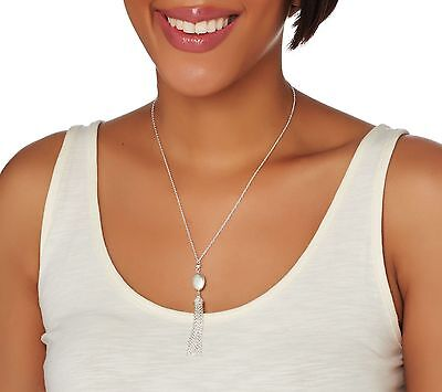 """18"""" Tassel Necklace with Oval Link Chain Real Sterling Silver Style by QVC 925"""