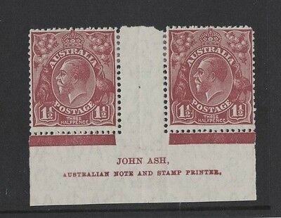 1930 Australia KGV 1 1/2d red-brown SG 97 imprint pair mlh