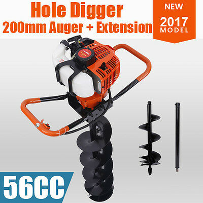 Post Hole Digger 56cc Posthole Earth Auger Petrol Drill Bits Bore  200mm Auger
