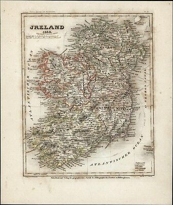 Ireland counties Dublin Cork Kilkenny Limerick 1849 Meyer map w/ hand color