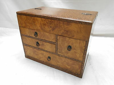 Vintage Kiri and Keyaki Wood Sewing Box Japanese Drawers C1950s #607