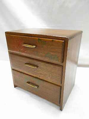 Vintage Kiri Wood Dresser Box Japanese Drawers Hand-painted Circa 1950s #608