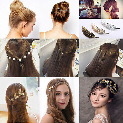 Lady Metal Rhinestone Head Chain Jewelry Headband Head Piece Hair band US Stock