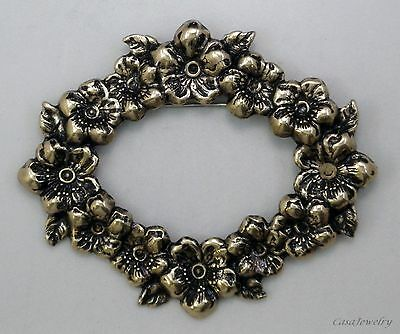 #3345 ANTIQUED GOLD OVAL FLORAL WREATH BROOCH - 1 Pc Lot