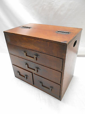 Antique Keyaki and Sugi Wood Sewing Box Japanese Drawers Circa 1880s #612