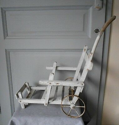 Antique french wooden white Stroller BABY DOLL Cradle