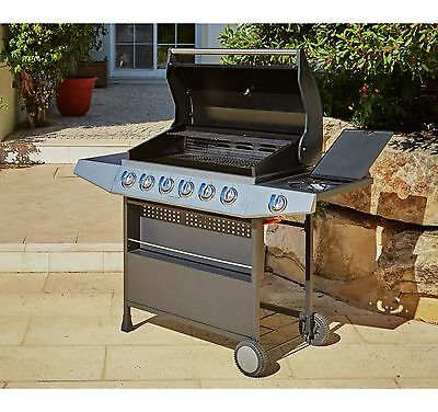 Premium 6 Burner Gas BBQ with Side Burner - Stainless Steel / Black. From Argos