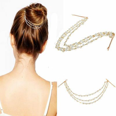 US Women Metal Pearl Rhinestone Head Chain Jewelry Headband Head Piece Hair Band