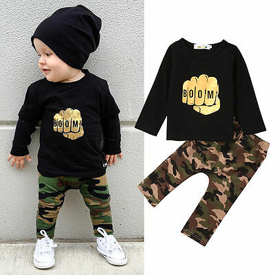 Casual Toddler Kids Baby Boys Outfits Clothes T-shirt Camouflage Pants 2pcs Set