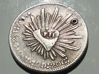 Mexico 1834 ZS OM ULTRA RARE Countermarked Y.II 8R Reales Silver Coin ZACATECAS