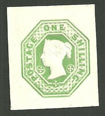 Queen Victoria Stationery 1/- Green Die 5 Dot Florets Cut Square Cut Out Unused