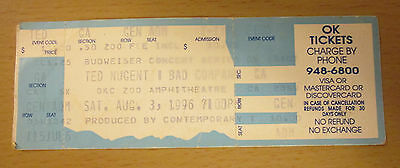 1996 Ted Nugent Bad Company Oklahoma City Concert Ticket Stub Paul Rodgers