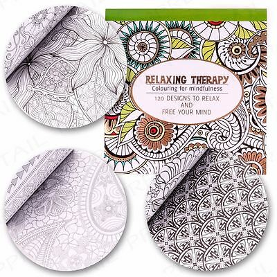 60 Designs Adult Relaxing Therapy Colouring Book Mindfulness Anti-Stress Pad