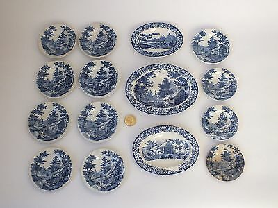 Antique Blue and White Transfer Print Dolls Toy Small China Dinner Set Plates