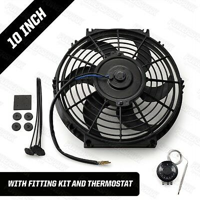 """12 Volt Electric Radiator Cooling Fan & Thermostat 10"""" Intercooler 220W"""