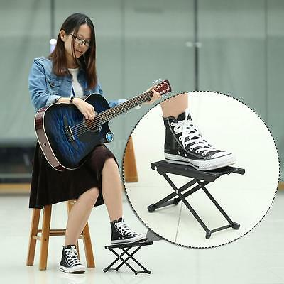 Foldable Beech Metal Guitar Pedal With 4 Adjustable Height Foot Rest Stool U2W6
