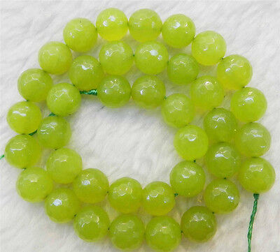 "natural 8mm Faceted Peridot  Loose Beads Gemstone 15"" AAA"