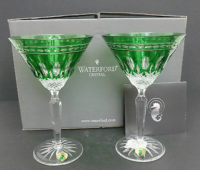 Waterford Crystal Clarendon Emerald Green Martini Glasses x2 Brand New Mint Box