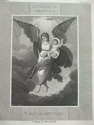 1835 ENGRAVING WOMAN & MAN CHILD By Peters REVELATION ANGEL & BABY Abaddon