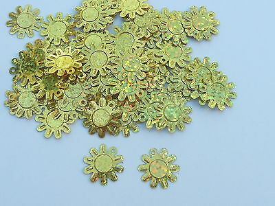 100 Approx Beautiful Shimmering Sun Flower Sequins - Holographic Gold