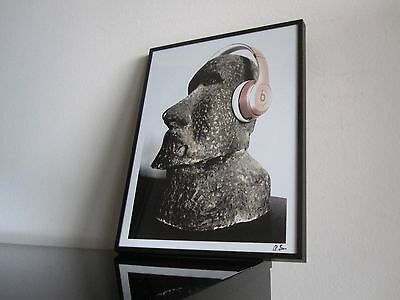 Moai Sculpture - Kunst - Beats Headphones - Dr. Dre - Modern Art - Rosé Gold
