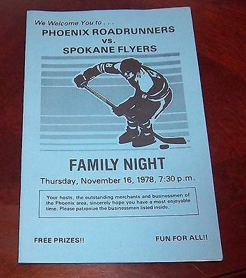 Phoenix Roadrunners  WHA Family Night sponsers 1978   grab a piece of history