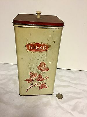 """Rare Bread Box """"Stores Vertically"""" Interior Slide Out Drawer In Ventilated Tin"""
