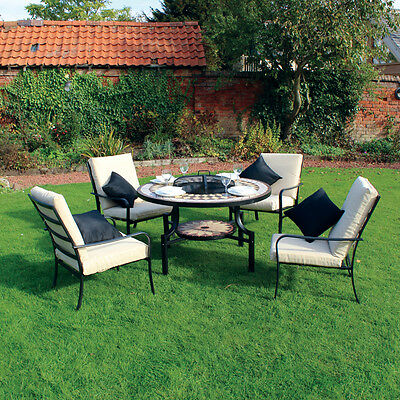 Kingfisher Black/bronze Fire Pit Dining Mosaic Set With 4 Chair Garden Furniture