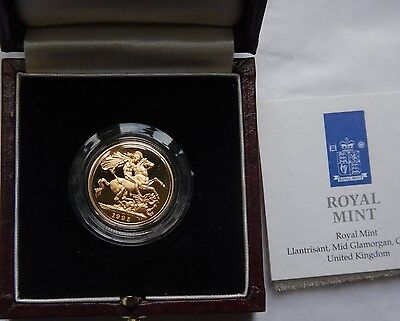 Sovereign 1995 Gold Proof with original Royal Mint Box and COAs