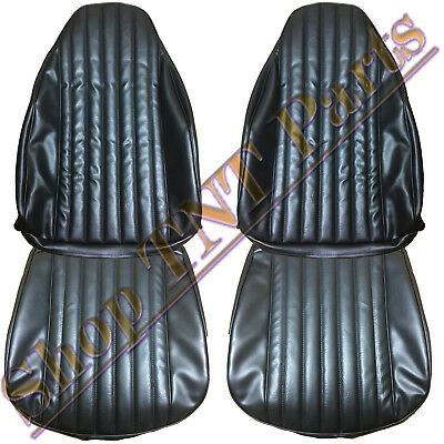 1973-76 Dart Duster Seat Covers Front Bucket Seats Black Upholstery Vinyl Skins