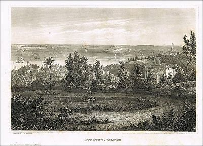 Staten Island New York USA Richmond County Orig. Stahlstich steel engraving 1850