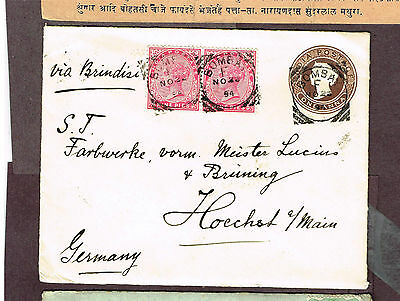 India Square Circle Cancel Uprated Stationery Germany (Ast3