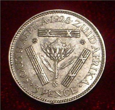 Hi Grade Xf Silver 1928 3 Pence South Africa**a Scarce Nice Detailed Coin***