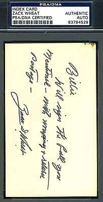 Zack Wheat Psa/dna Signed 3X5 Index Letter Authenticated Autograph