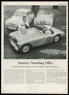 1954 Austin-Healey 100-4 car and Jackie Cooper photo vintage print ad