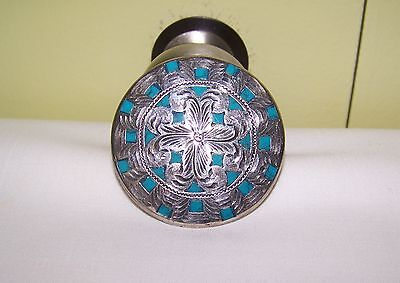 Signed PLATA DE JALISCO GAUD Mexico 925 Sterling & Turquoise Pendant Brooch
