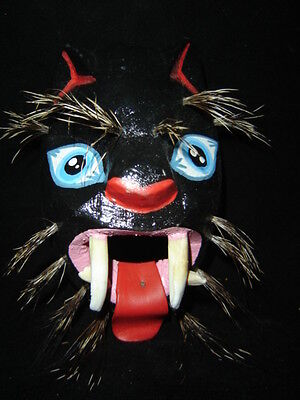 196 PANTERA MEXICAN WOODEN MASK panther handcraft wall decor FREE SHIPPING