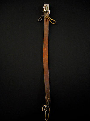 Japanese WW II Army Officer Samurai Sword Belt LEATHER HANGER -Old/Antique Chain
