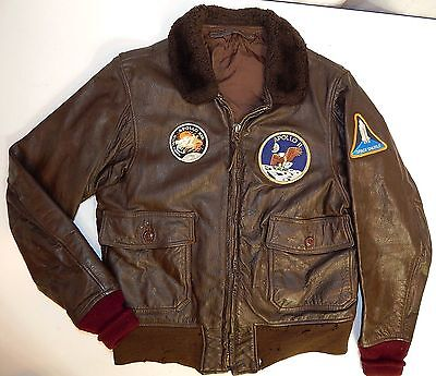 Vtg Military USN G-1 GOAT Leather FLIGHT AVIATOR Aeronautics Jacket ASTRONAUT 38