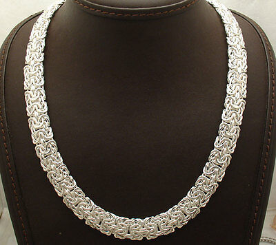"""18"""" Bold All Shiny Mirror Byzantine Necklace Chain Real Sterling Silver 925"""