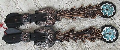 Adult Floral Tooled Leather Spur Straps Painted Daisy w/ Copper Floral Buckle