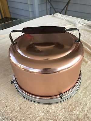 Vintage Round Mirro Coppertone Locking Cake Carrier with Handle Pastry Keeper
