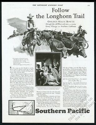 1928 Fred Ludekens cowboy cattle drive herd art Southern Pacific RR print ad