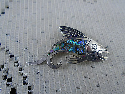 Vintage MARICELA Mexico Sterling Silver Abalone Fish Brooch Pin Mexican Tasco