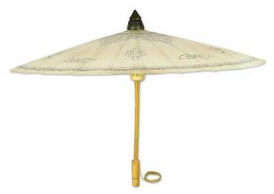 ENCHANTED SUN Painted Paper & Bamboo Parasol Umbrella NOVICA Thailand
