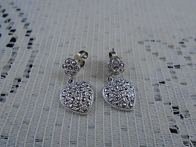 Exquisite Sterling Silver Dangling Heart Earrings with Genuine Marcasites THEDA