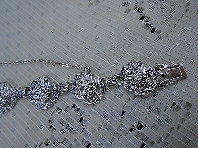 Exquisite Sterling Silver Bracelet with Genuine Marcasites THEDA Figural Flowers